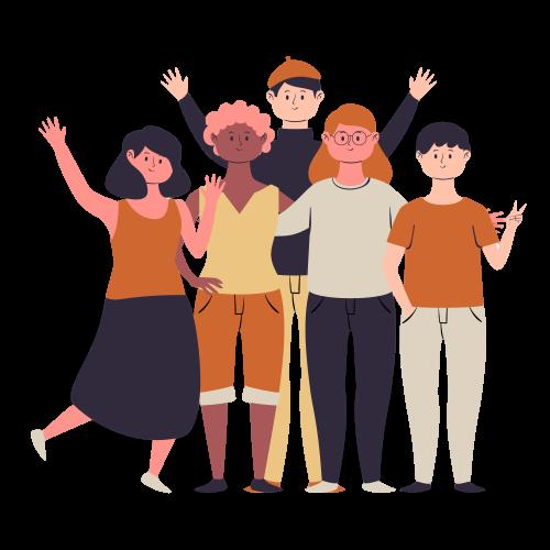 group of people waving hello
