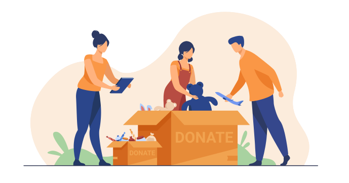Group of people donating to charity